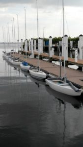 2.4mR sailboats along the dock
