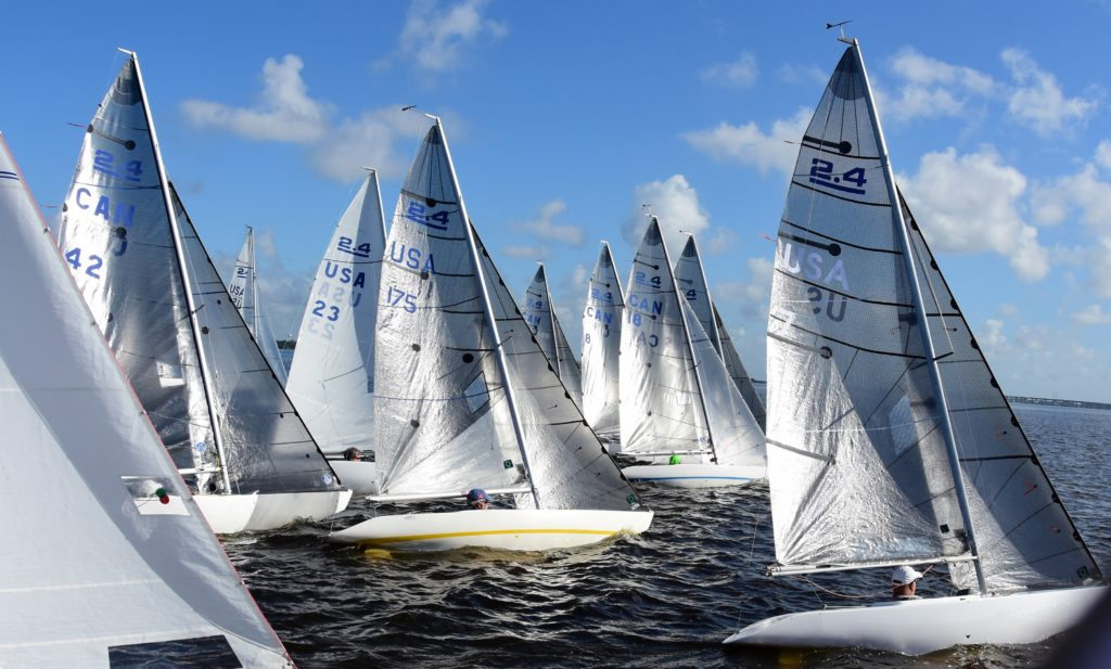 2.4mR Sailboats at start line