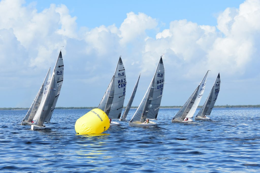 2.4mR Sailboats rounding mark 1