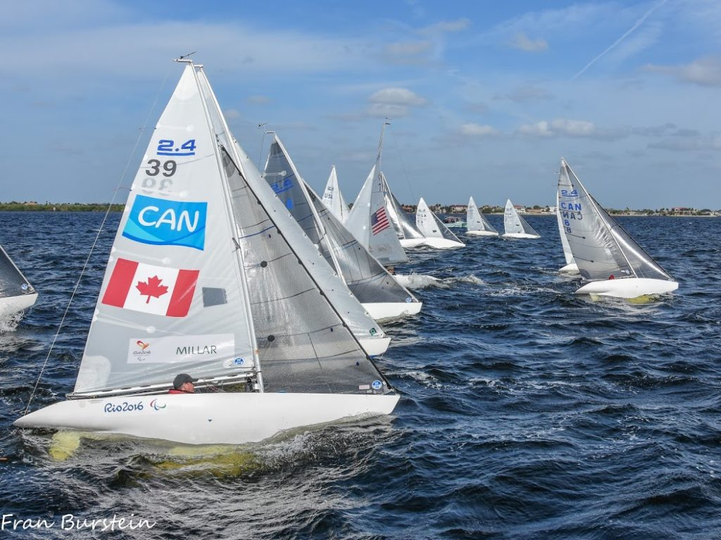 Sailboats at starting line